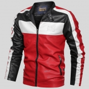 Lovely Casual Letter Patchwork Red Leather