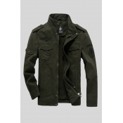 Lovely Casual Pocket Patched Army Green Jacket