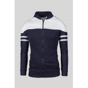 Lovely Casual Patchwork Navy Blue Hoodie