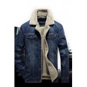 Lovely Trendy Buttons Design Deep Blue Jacket
