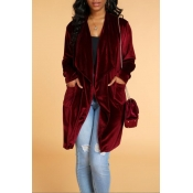 Lovely Casual Basic Wine Red Coat