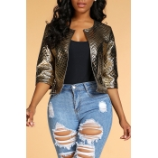 Lovely Chic Zipper Design Gold Coat