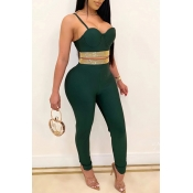 Lovely Party Spaghetti Straps Green Two-piece Pants Set