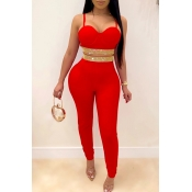 Lovely Party Spaghetti Straps Red Two-piece Pants