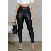 Lovely Casual Skinny Black PU Pants