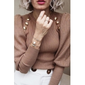 Lovely Casual Buttons Design Khaki Sweater
