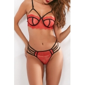 Lovely Sexy Hollow-out Red Bra Sets
