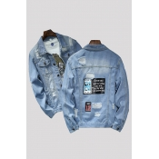 Lovely Casual Buttons Baby Blue Cowboy Wear