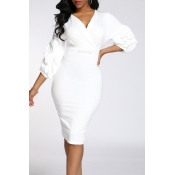 Lovely Work V Neck Skinny White Knee Length OL Dre