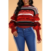 Lovely Trendy Tassel Design Geometric Red Sweater