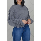 Lovely Trendy Flounce Design Grey Sweatshirt Hoodi