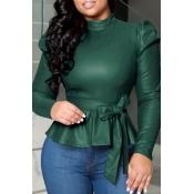 Lovely Trendy Mandarin Collar Lace-up Deep Green Blouse