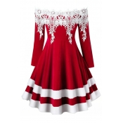 Lovely Sweet Patchwork Red Knee Length Dress