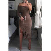 Lovely Trendy One Shoulder Ruffle Design Brown Mid
