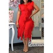 Lovely Trendy Tassel Design Red Mid Calf Dress