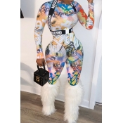 Lovely Casual Print White One-piece Jumpsuit(Witho