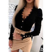 Lovely Chic Buttons Flounce Black Sweater