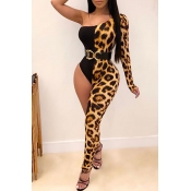 Lovely Sexy Patchwork Leopard One-piece Jumpsuit