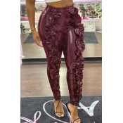 Lovely Trendy Flounce Design Wine Red Pants