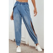 Lovely Casual High Opening Blue Jeans