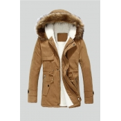 Lovely Winter Hooded Collar Velvet Lining Khaki Co