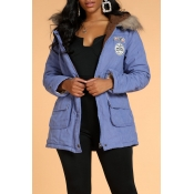 Lovely Casual Patchwork Blue Winter Coat