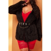 Lovely Casual Hooded Collar Black Plus Size Sweate