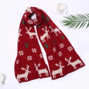 Lovely Casual Christmas Deer Red Scarves