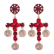 Lovely Christmas Day Crystal Red Earring