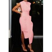 Lovely Party Tank Sleeveless Light Pink Ankle Length Prom Dress