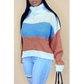 Lovely Casual Turtleneck Striped Light Coffee  Swe