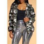Lovely Trendy Camo Grey Jacket