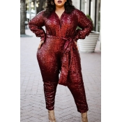 Lovely Casual V Neck Lace-up Wine Red Plus Size One-piece Jumpsuit