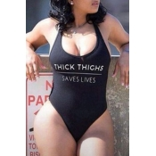 Lovely Leisure Letter Black One-piece Swimsuit