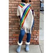 Lovely Leisure Rainbow Striped Tassel Beige Sweate