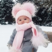 Lovely Cute Pink Kids Beanie