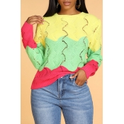 Lovely Trendy O Neck Patchwork Yellow Sweater