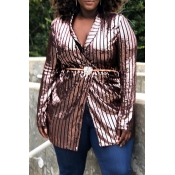 Lovely Casual Striped Rose Red Plus Size Coat