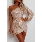 Lovely Party One Shoulder Rose Gold Mini Evening D