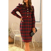 Lovely Sweet Plaid Print Red Knee Length Dress