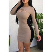 Lovely Chic O Neck Hollow-out Khaki Mini Dress