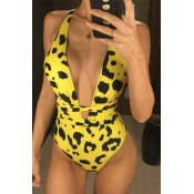 Lovely Leopard Print Yellow One-piece Swimsuit