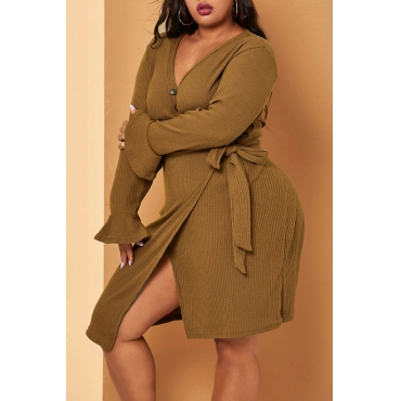 Lovely Casual V Neck Light Tan Knee Length Plus Size Dress