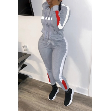 Lovely Trendy Hooded Collar Patchwork Grey Two-piece Pants Set