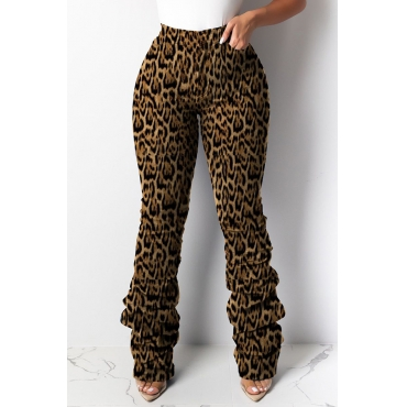 Lovely Casual Leopard Printed Brown Pants