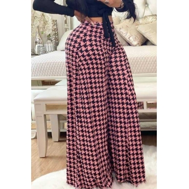 Lovely Casual Printed Loose Pink Pants