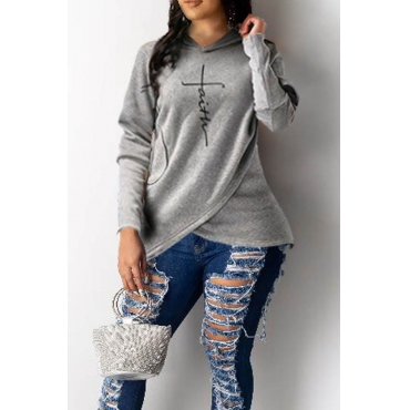 Lovely Trendy Hoodie Hooded-Collar Letter Print Asymmetrical Grey Regular Fit