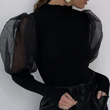 Lovely Trendy Patchwork Black Blouse