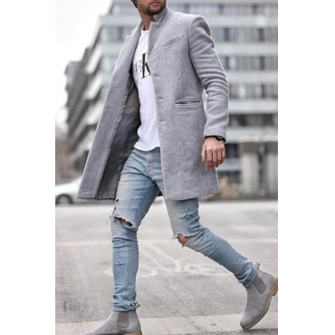 Lovely Casual Turndown Collar Grey Coat