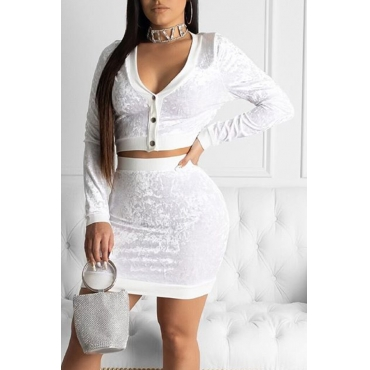 Lovely Casual V Neck Buttons White Two-piece Pants Set